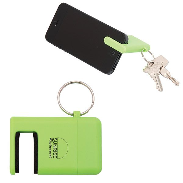 Phone Holder With Keychain & Screen Cleaner (From $1.25) - Key ring attaches keys and screen cleaner and brush under top cap. Cap is attached to key ring so it doesn't get lost. Also acts as phone stand/holder. Pretty much the Mandy Patinkin of promo products!