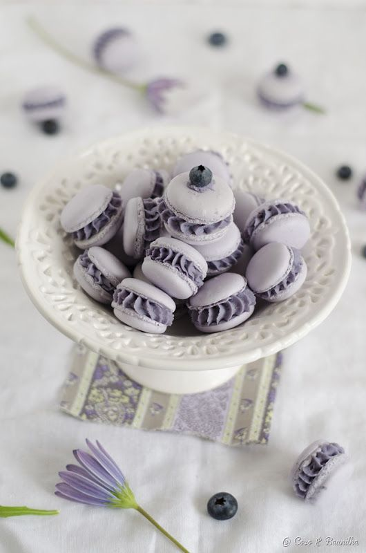 macarons de mirtilo e chocolate branco