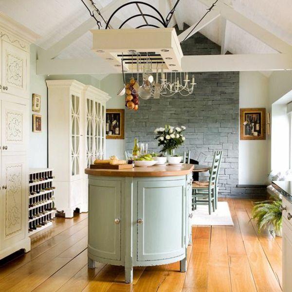 töpfe und pfannen runde Kücheninsel in Grau