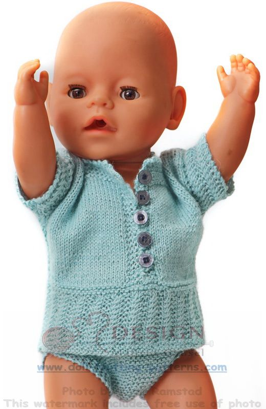 Beautiful doll knitting summer outfit in turquoise color