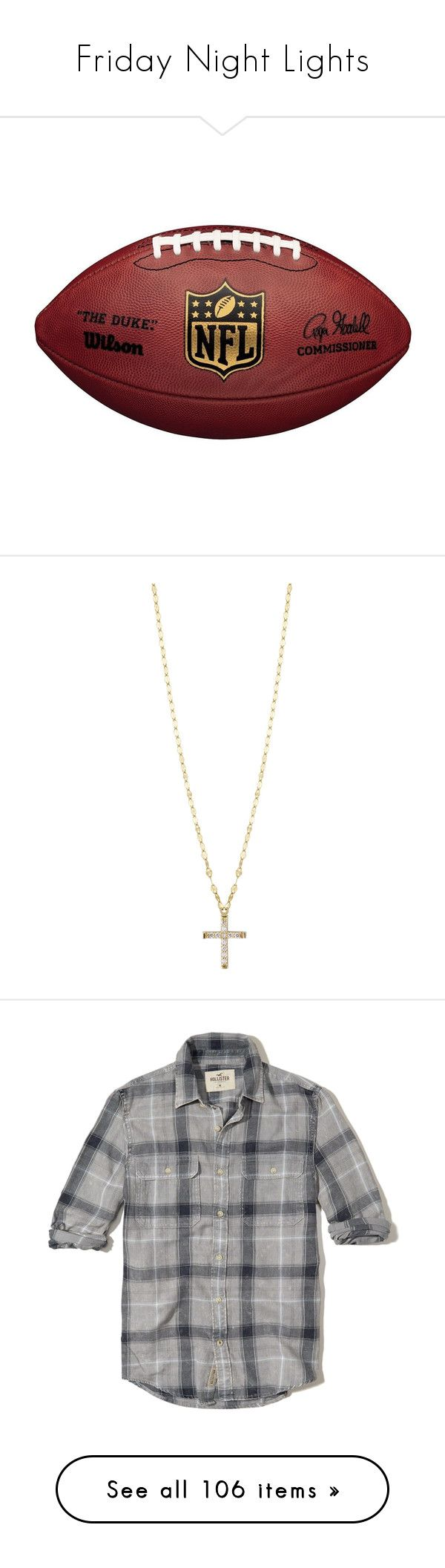 """Friday Night Lights"" by namelessginger ❤ liked on Polyvore featuring football, jewelry, necklaces, gold, jewelry necklaces, 14 karat gold necklace, diamond cross necklace, 14k necklace, cross pendant necklace and 14 karat gold cross necklace"