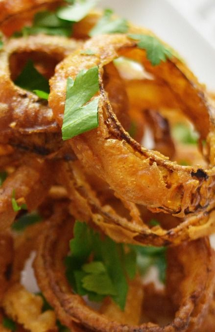 Beer Battered Onion Rings with Smoked Paprika Aioli