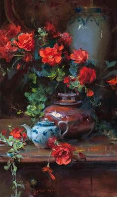 Begonias and Blue 30 x 18