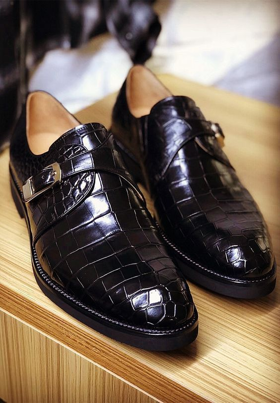 9a31286dc45 Handmade Crocodile Texture Leather Shoes