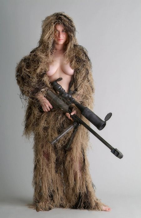 Topless Sniper With Her Rifle