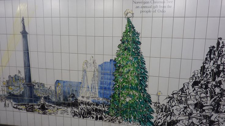 The Trafalgar square Christmas tree - near Trafalgar square - subway