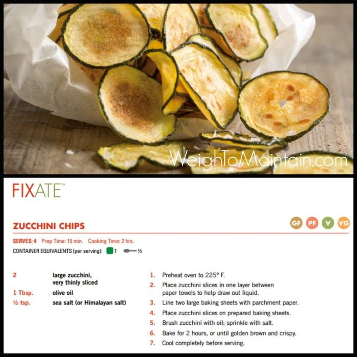 Fixate Zucchini Chips Recipe.   See review of the Fixate 21 Day Fix cookbook on WeighToMaintain.com.