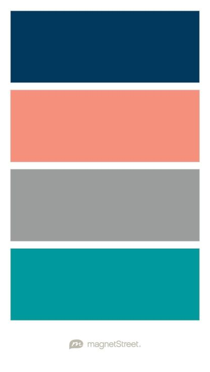 Navy, Coral, Custom Gray, and Teal Wedding Color Palette - custom color palette created at MagnetStreet.com