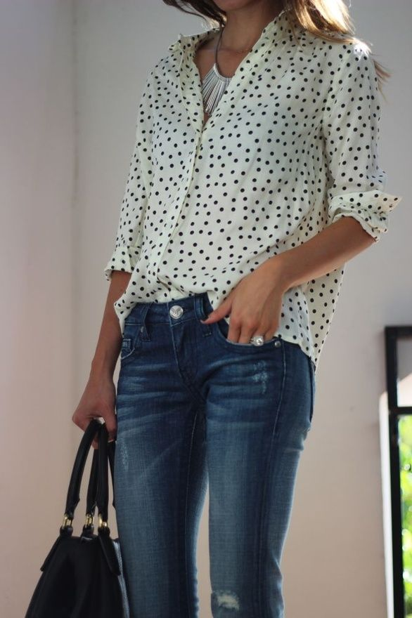 "Stitch Fix Stylist:  I think a boyfriend shirt with feminine graphics like this polka dot button front shirt is awesome.  Easy to layer under a ""skinny"" sweater."