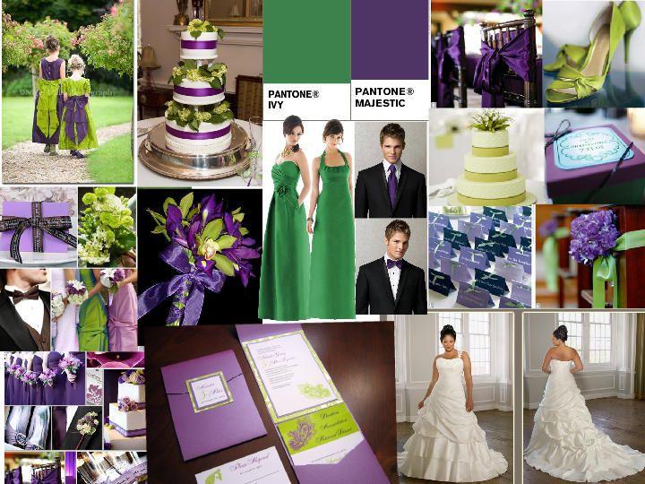 Purple and green Vibrant BLAST : PANTONE WEDDING Styleboard : The Dessy Group