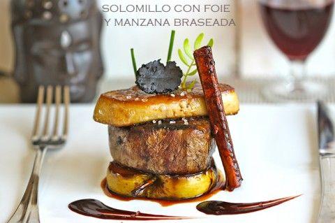 Solomillo de ternera con foie y manzana braseada