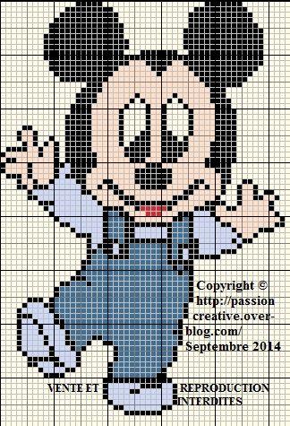 Grille gratuite point de croix : Bébé Mickey fait ses premiers pas - Le blog de Isabelle