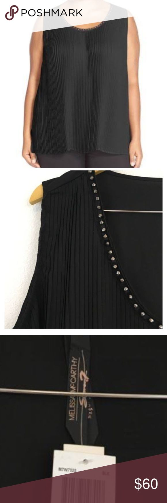 NWTs Melissa McCarthy Seven7 Black Studded Tank 2X Brand New with tags! Melissa McCarthy Seven7 Black Studded Tank Size 2X. Purchased for 30 and lost receipt so can't return. Normally $84. Love this but runs a bit on the larger 2X side. Very flattering and has ample room in back and front. Looks great over skinny jeans and wedges going out or casual weekend attire. Save 20% on bundles of two or more! Melissa McCarthy Tops Tank Tops