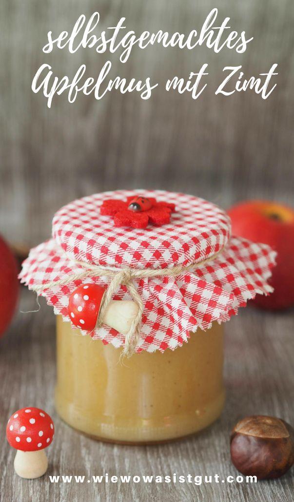 Leckeres selbstgemachtes Apfelmus mit Zimt schmeckt immer. Egal ob zu Pfannkuchen, im Müsli oder einfach so. Die Zuckermenge kann man selber bestimmen und es hält sehr lange. Egal ob im Thermomix oder im Topf - mit eigenen Äpfeln aus dem Garten superlecker. Auch als Geschenk oder Mitbringsel immer ganz toll.  #apfelmus #zimt #lecker