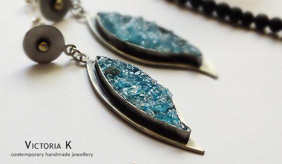 Turquoise earrings, leaf earrings, turquoise druzy earrings
