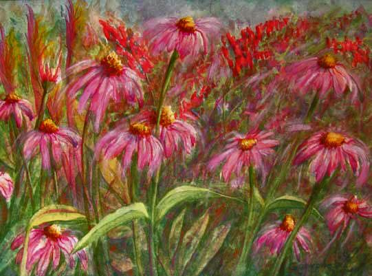 Prairie Coneshowers  Mixed media painting of prairie cone flowers (Echinacea) blooming in the artist's garden by Rose Ganucheau