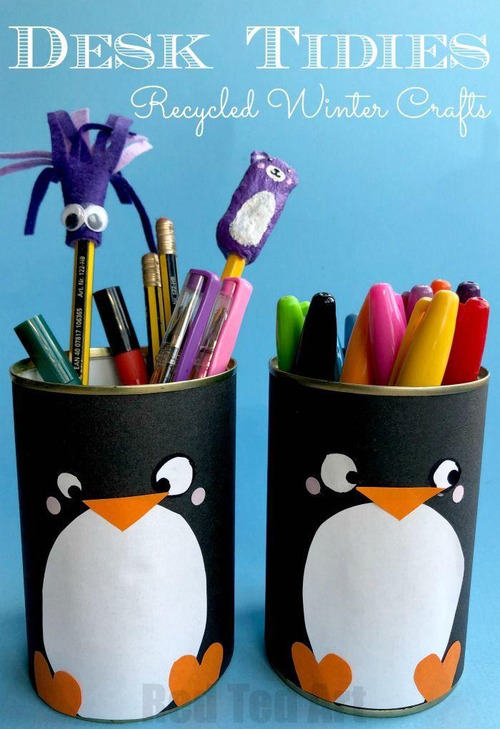 Diy Penguin Pencil Holder Diy Pencil Holder Winter Crafts For
