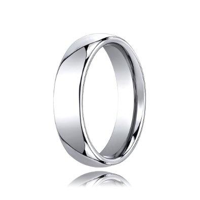 Traditional Edge High Polished Comfort Fit Cobalt Wedding Band - 6mm: Jewelry: Amazon.com