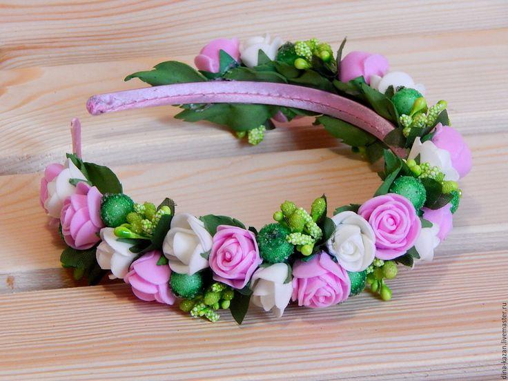 Купить Ободок с цветами из фоамирана - комбинированный, ободок для волос, ободок с цветами, ободок для девочки