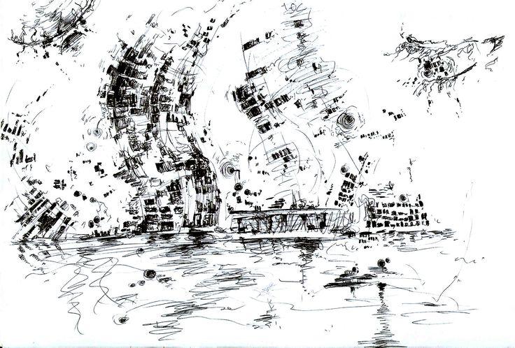 pen drawing.  wave. night city. lights,  Yarra River. Van Gogh.      by grida park