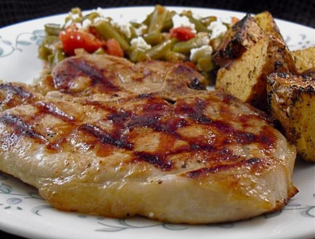 PORK CHOPS ON GRILL (KREMENADLI) This is my expertise (in eating of course) , I looove pork shops, especially when meat comes with some fat on, delicious! If meat contains lots of fat, then, you don't have to make this marinade, because that meat is already soft and juicy. Just leave pork chops in some oil with spices to overnight and then bake the next day. Never put meat on grill directly from the fridge! Leave it for 1 hour at room temperature, then bake.