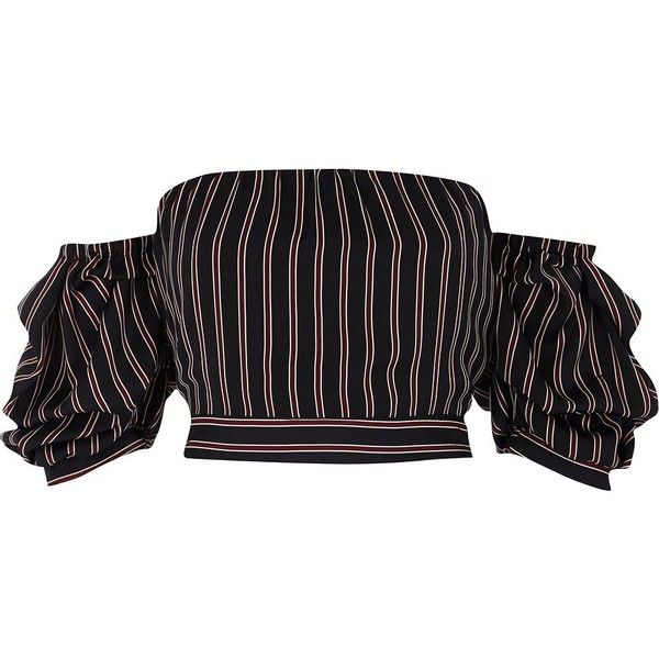 River Island Navy Puff Sleeve Bardot Crop Top
