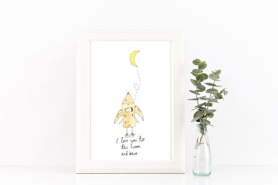 I love you to the moon and back // Nursery Art by littlemepaperco