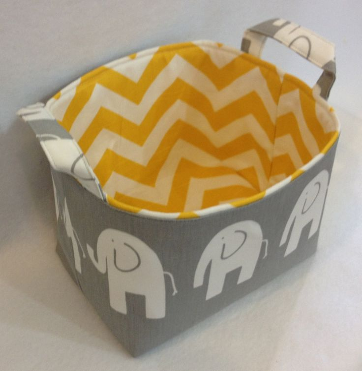 Fabric Bin, Fabric Storage Organizer, Basket, Grey Elephant with Yellow/White Chevron Lining. $19.00, via Etsy.