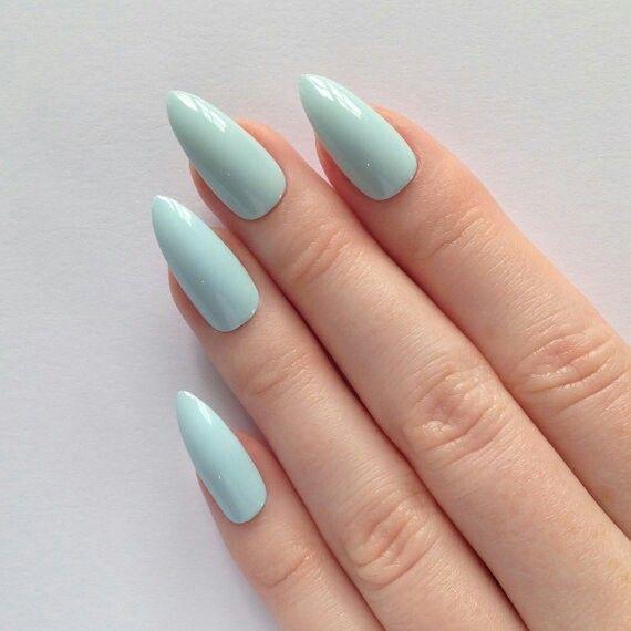 Pale blue stiletto nails #nailpolish >> http://amykinz97.tumblr.com/ >> www.troubleddthoughts.tumblr.com/ >> https://instagram.com/amykinz97/ >> http://super-duper-cutie.tumblr.com/