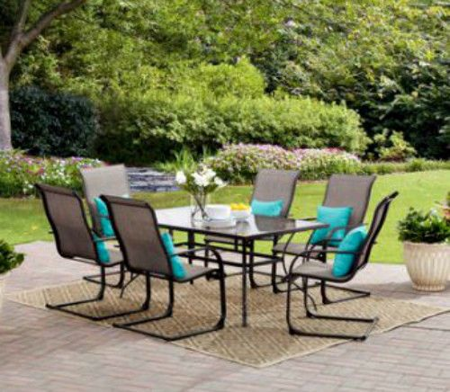 7Piece Patio Dining Set Tempered Glass Table Top Waterproof Chairs Furniture New #Mainstays