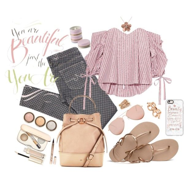 Subtle Pattern Mixing and Rose Gold Outfit Idea 2017