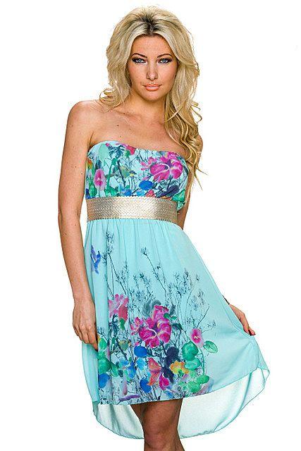 Vestido asimétrico palabra de honor cinturón plateado estampado floral tail hem   Azul Turquesa, Rosa Fucsia/Multicolor   Italy Moda
