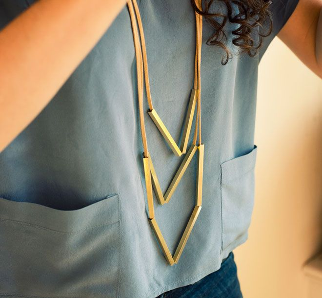 Metal Tubes + Leather Laces = Fun Geometric Necklace on the Fly