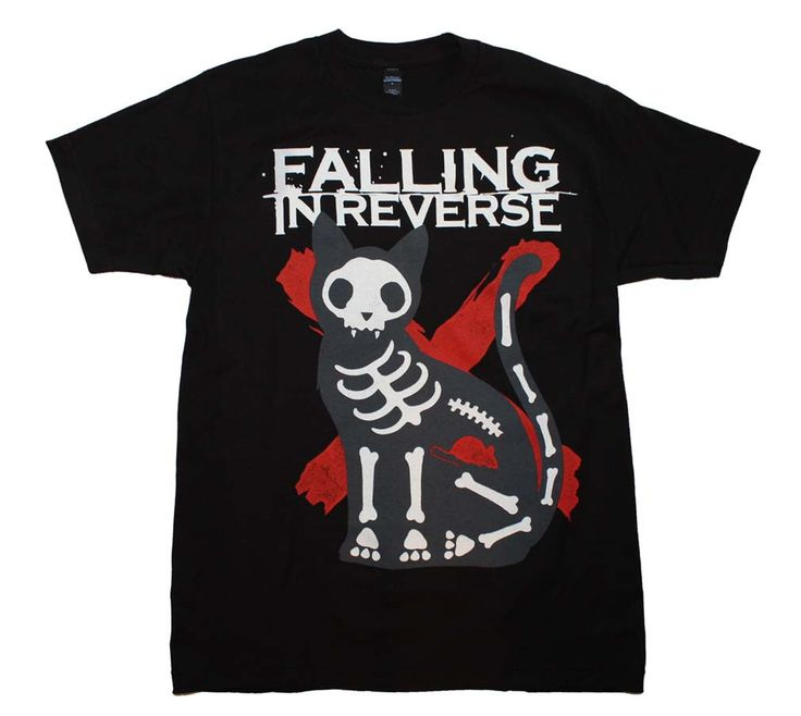 Officially licensed Falling in Reverse t-shirt featuring a cool X-Ray cat front print. Men's standard fit, 100% cotton t-shirt. Black color.
