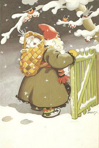 Nordic Thoughts: Father Christmas and his birch bark backpack...