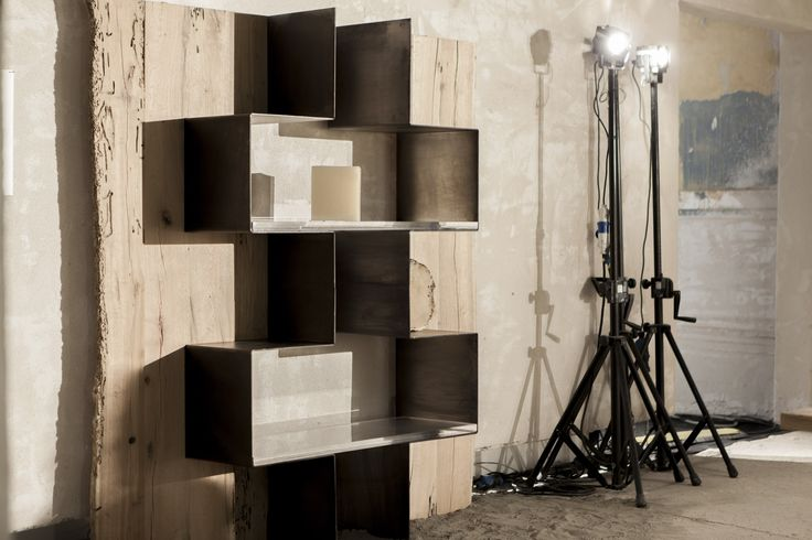 The Teredo line is made up of a desk and a bookcase-cabinet, both made of bent metal sheets and shaped panels made up of brushed oak slats. The bookshelf has been conceived in a modular structure where the base module comes in a separate and autonomous structure, available both in RH and LH versions. The combination of modules and use of methacrylate shelving contribute to create more complex structures through their interactions.