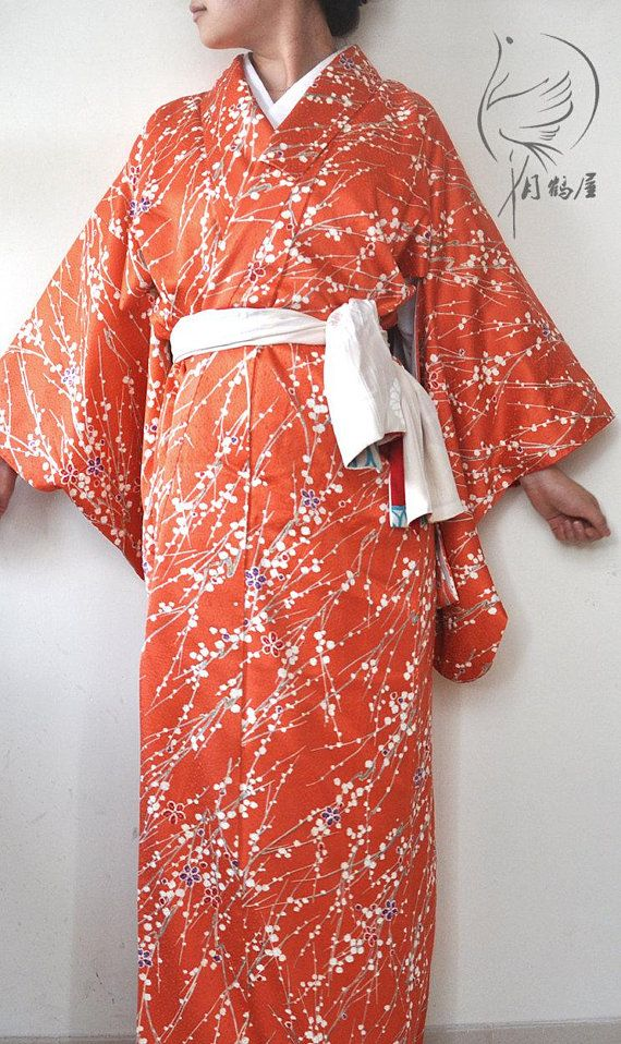 65a992c1a Authentic japanese silk kimono long robe. Vintage coral red maxi kimono  gown dress. Plum blossom red women's duster coat. Wrap dress.