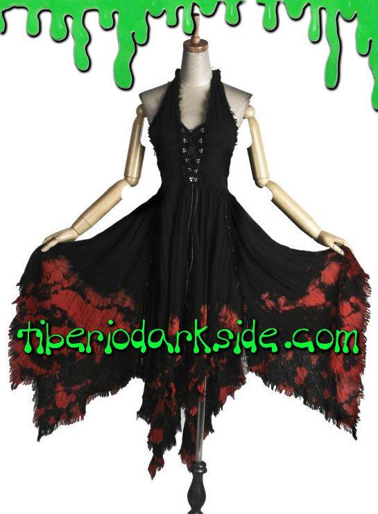 BLOODY VAMPIRE HALTER DRESS Vestido gótico largo con escote halter atado al cuello, con cordones en el pecho, espalda fruncida y falda de picos, realizado en tejido teñido de rojo. En el interior tiene almohadillas en el pecho, para llevarlo sin sujetador. Materiales: 95% algodón, 5% spandex. Marca: Punk Rave. COLOR: NEGRO/ROJO TALLAS: SM, LXL SM - 85 a 95 cm pecho, 65 a 75 cm cintura (tallas 36 y 38) LXL - 95 a 105 cm pecho, 75 a 85 cm cintura (tallas 40 y 42)