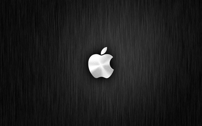 Herunterladen hintergrundbild apple, 4k, metall, hintergrund, apple-logo, creative