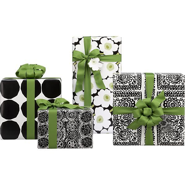 Marimekko Black and White Gift Wrap in Gift Wrap, Gift Tags | Crate and Barrel