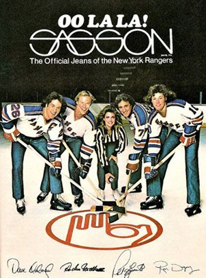 Sasson jeans ad with the New York Rangers