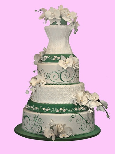 Gorgeous Indonesian-inspired wedding cake from the talented artists of Christopher Garren's Let Them Eat Cake, Costa Mesa, California....