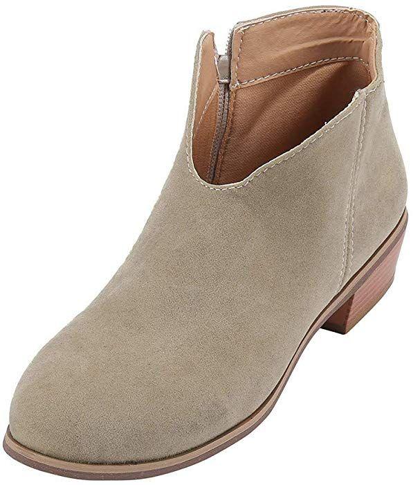 24e91c22f4a77 Amazon.com: COPPEN Women Boots Square Heel Solid Color Suede Zipper ...