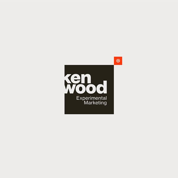Kenwood Experimental Marketing - Logo Design - Logotype, Square, Negative Space, Clever use of the letter K, Black & White, Red