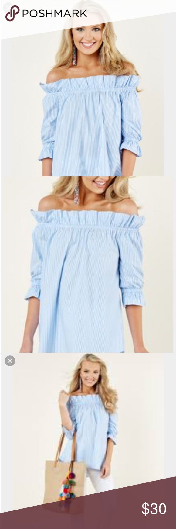🌸NEW! 🌸Off-the shoulder blue top Adorable and New!! Red Dress Boutique off the shoulder top. Red Dress Boutique Tops
