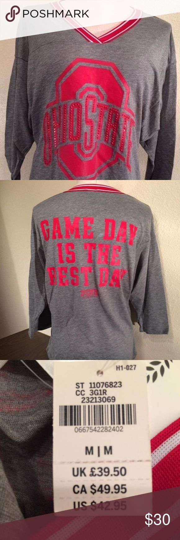 """Victoria's Secret PINK Ohio State Bling T-Shirt Victoria's Secret PINK Ohio State 3/4 Sleeved T-Shirt - NWT Size: Medium Show your Ohio State love in style! It's super comfy with soft cotton blend material, round neck, and 3/4 sleeves. It's finished with bejeweled Ohio State logo the front, red and white trim, and the slogan """"GAME DAY IS THE BEST DAY"""" and PINK logo on the back. 0667542282402 PINK Victoria's Secret Tops Tees - Short Sleeve"""