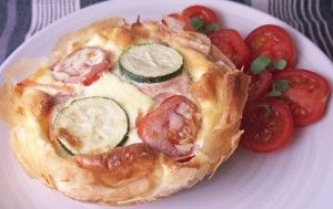 5-2 Diet Fast Day Low Calorie Smoked Salmon and Filo Tart