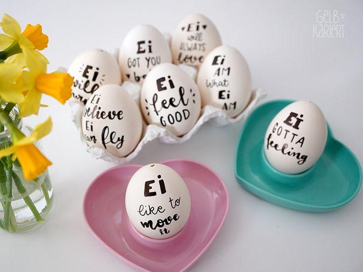 Ostereier mal anders: originelle Ostereier bemalen mit einem coolen Handlettering - Ei like to move it! Handlettering geht einfach überall!