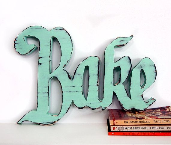 Wooden Bake Sign in Mint Pine Wood Sign Wall Decor Rustic Americana Cottage Country Chic Kitchen Decor