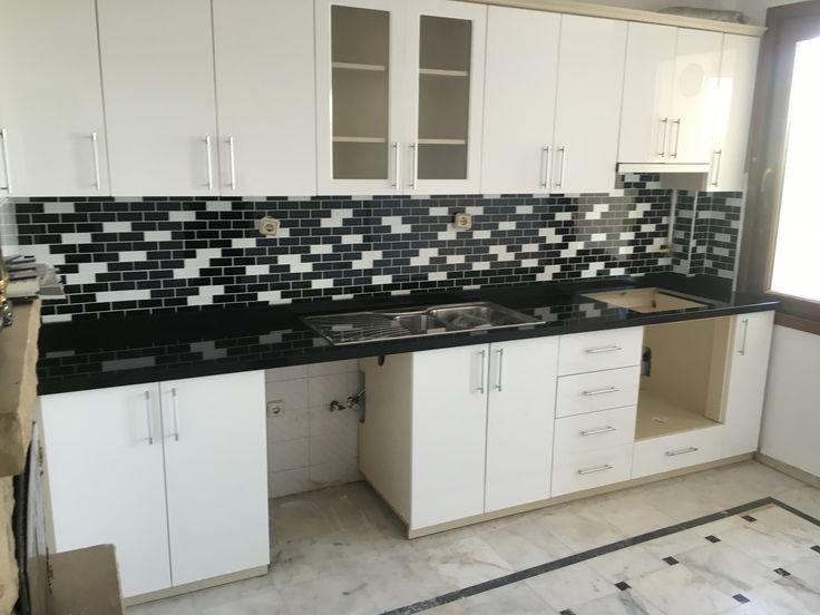 Granit düz siyah mutfak tezgahı